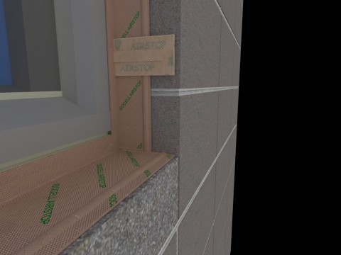 Isowindow  F1 applied to blockwork with Isocell Airstop Adhesive paste